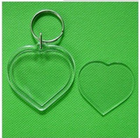 Wholesale Blank Acrylic Round Circle Keychains Insert Photo Keyrings1 quot cm
