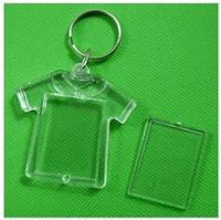 achat en gros de photo trousseau cadres gros-Vente en gros 100pcs en blanc Acrylique Rectangle Porte-clés Insérer des porte-clés photo (chaîne porte-clés) 2