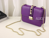 Plain animal crossing rock - free hongkong post COLORS ROCK STUD GENUINE LEATHER CHAIN HANDBAG S W105