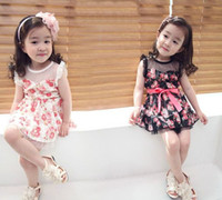 Cheap Children's clothing 2013 summer baby boy peony lace princess clothing tank dress 5pcs lot