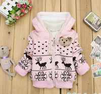 Girl 1~6 years Winter Wholesale - Winter New Children's clothing baby girl's coats lamb cashmere coat pink yellow thick chest decorative card replacements 6p l l