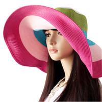 Wholesale T505 Korean straw beach hat sun hat children Shixia day Korean large brimmed hat straw hat sun hat rainbow