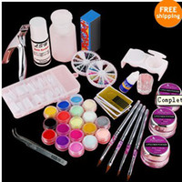 Wholesale Complete Pro Acrylic Powder Kit Set w Glitter Nail Tips Pliers Nail Brush