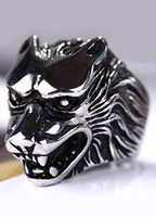 Wholesale Novelty Silver Metal Wolf Head Men s Fashion Ring u7 pU