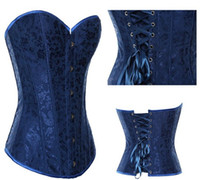 Wholesale Sexy Blue Lingerie Stain Corset Lace up Back Goth Cincher Steel Boned Busiter For Training Wasit Corset S XL
