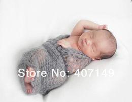 Wholesale Model DJ Baby Shower Crochet Newborn Wraps Mohair Baby Photography Props Baby Props