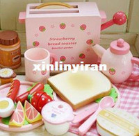 Wholesale New Arrived Mother Garden Children s Wood Playhouse Game Toys Toast Bread Toaster Wooden Kitchen Toys Set