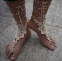 Wholesale Cotton Crochet Barefoot Sandals Beach Pool Nude shoes Foot jewelry Wedding shoes white sandals custom color tmx350