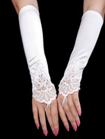 Wholesale Luxury Beige White Satin Beaded Sequin Wedding Gloves For Brides u5 oqo