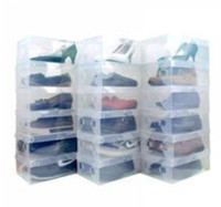 Wholesale FreeShipping Clear Transparent Plastic Shoe Boxes for Clear PP Shoe Storage Boxes Foldable Plastic Package Box Man Size cm