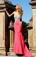 Wholesale 2014 Celebrity Red Carpe Crysta Sexy Sweetheart Sleeveless Mermaid Elegant Cheap Prom Formal Evening Dresses For Womens Wear FGJH