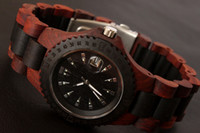 Wholesale Hot Stylish Gassen James Man Green Natural Material Wood Best Gift Quartz Calandar Wooden Wrist Watch GJ3014
