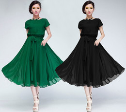 Summer Dresses 2015 New Elegant Women Short Sleeve Chiffon Dress Plus Size Mid Calf Ball Gown Black Long Dress With Belt