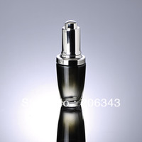 Wholesale 30ML BLACK glass bottle with press dropper or dropper glass bottle for Cosmetic Packaging