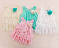 Wholesale Suspender Dress Children Wear Girls Cute Lace Dresses Layered Dress Fashion Princess Dresses Baby Summer Dress Tiered Dresses Kids Clothing