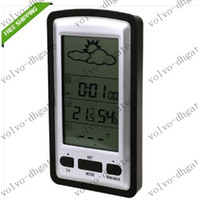 Industrial other  Free Shipping Wireless LCD Weather Stations with Clock Temperature Sensor 50set lot DKHA532