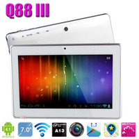 Wholesale 30pcs quot Dual Camera New Design Allwinner A13 Android Q88 III Glossy back cover Tablet PC Wifi Skype Video Call Webcamera