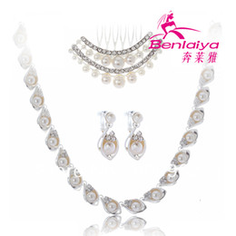 Wholesale 2013 News Fashion Pearls Jewelry Sets Rhinestones Bridal Wedding Necklace Sets Flower Princess Tiara