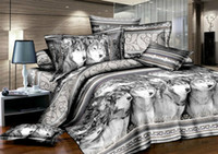 Adult Printed 100% Cotton nature pure cotton grey background with wolf Duvet Quilt covers Queen bedding 3D digital wolf printing 4pc set FREE SHIPPING