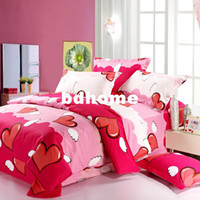 Wholesale cartoon pink love heart bedding sets queen