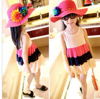 other Summer other Wholesale 2013 summer baby girl sleeveless dress chiffon lace design rainbow striped dress childrens tank top kid's clothing