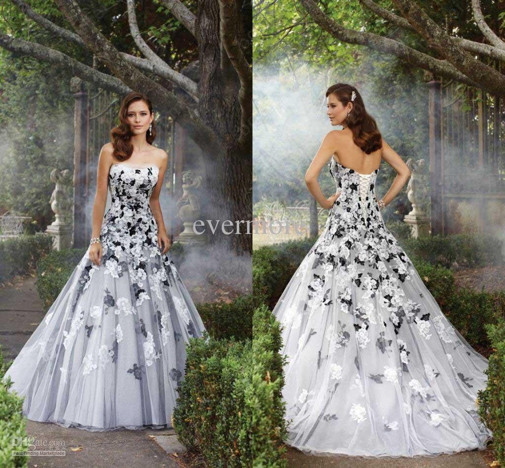 Beautiful wedding dresses a line strapless tulle black and for Cheap black and white wedding dresses