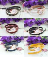 6pcs Fashion Golden Watch Mixed Colour Triple Rivet Leather ...