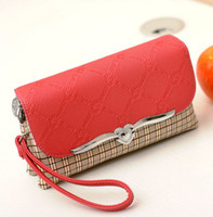 Wholesale Lady Girl Double Zipper Long Wallet Purse Leather Handbag Pattern Cross Shoulder Bag