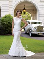 dresses uk - custom made Lace Over sweetheart Satin Mermaid Wedding Dress UK with Illusion Neckline bestoffers