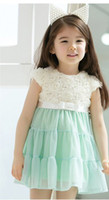 Wholesale pink green New Korean girl s tutu dress rose flower lace dress princess dress children summer fashion clothes baby party dress