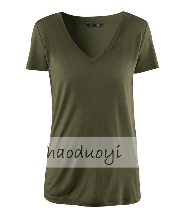 Womens army green deep v neck t shirt for wholesale and for Custom deep v neck t shirts