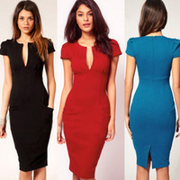 Wholesale 2013 Elegant Ladies V Neck Fashion Celebrity Pencil Dress Women Wear to Work Slim Knee Length Pocket Party Bodycon Dress S XXL