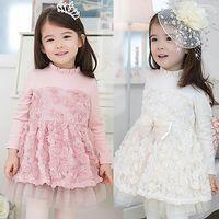 Acheter Dentelle en couches robe tutu enfants-Mode bébé princesse élégante fille douce enfant enfants habillent fleur de Noël dentelle cadeau robe Layered cadeau