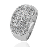 Wholesale Hot new fashion ring K white gold diamond crystal jewelry beautiful Christmas gift