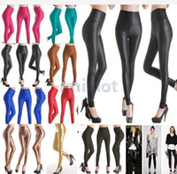 Fashion Women' Faux Leather Look High Waist Leggings Pants T...