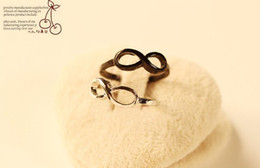 10PCS Fashion Silver Tone and Black Infinity Finger Rings #23334