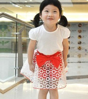Summer 100% Cotton 3-8 Korean Style Children Girls Bowknot Dotted Smocked Skirtpant Girls Short Pants Gauze Skirts Girls Clothing B0755