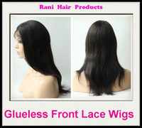 Wholesale Rani Hair Real Images Brazilian Remy Human Hair Glueless Front Lace wig EMS Free B off Black Inch Silky Straight High Quality SC34