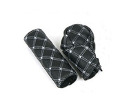 1 Set of White Black Leather Automatic Gear Shift Knob & Han...