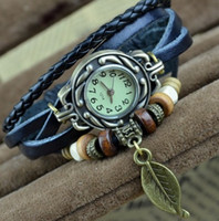 Wholesale High Quality Women Genuine Leather Vintage Watch bracelet Wristwatches hot Leaf vintage watch