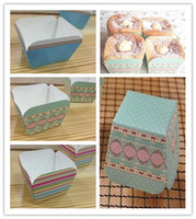 Baking Cups cake box - 2013 hot selling muffin cups Baking British retro Color stripe Classic blue dot lace square cake box cake cup