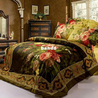 Adult Twill Printed OP023 oil painting 4pc bedding set king queen size 3D Duvet Quilt cover Luxury bed linen bedspread bedsheet sets 100 Cotton