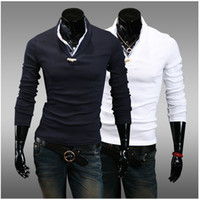 Men Polo Fashion Tee Free shipping new Men's T-shirt Cultivate one's morality conjoined Fake two piece leisure Long sleeve T-shirt
