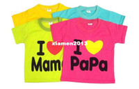Boy other Spring / Autumn 2013 boys hoodie girls hoodies boys shorts i love papa i love mama children t-shirts kids summer clothing many colors