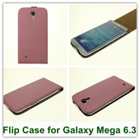 Leather For Samsung For Christmas 10PCS lot Pink Genuine Leather Flip Case for Samsung Galaxy Mega 6.3 Real Attival Original Cover for i9200 Free Shipping