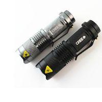 Wholesale 300LM mini CREE Q5 Aluminum LED Camping Flashlight Sporting Portable Led Torch Adjustable Focus Zoom waterproof flashlights Lamp DHL