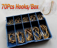 Wholesale 700X Mixed Sizes Carbon Bronze Golden Fishing Hooks With Box Fishhook PROMOTION
