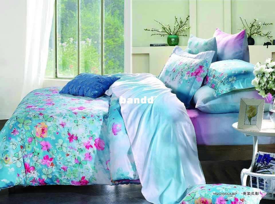 Magenta Floral Aqua Color Prints 500 Tc Cotton Home