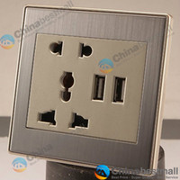 Wholesale 5V A USB socket switch panel usb wall plate USB HUB Ports Double USB charging socket panel for smartphone iphone MP3 MP4 PSP