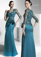 Wholesale Elegent Blue Sexy Lace Long Sleeves Floor length A line Mother Of Bride Grom Dresses FR002